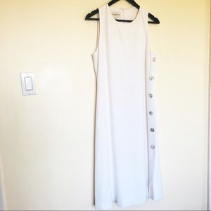 Vtg Evan Picone White Fully Lined Midi Dress Sz 6